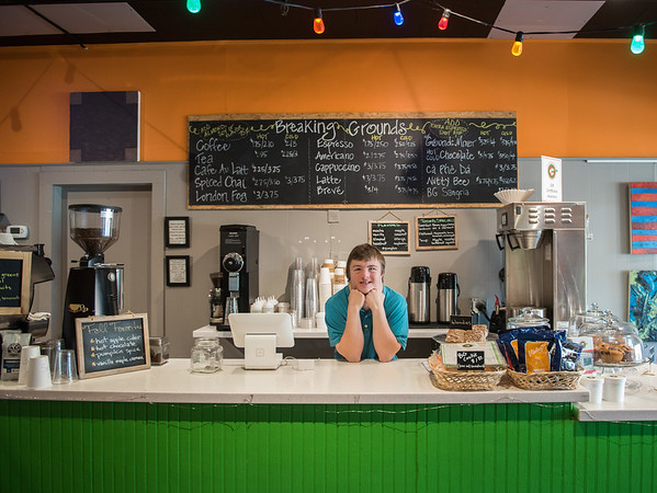 AMANDA SABGA/Staff photo. <br /> <br /> Chris Stark poses at Breaking Grounds Cafe in Peabody, where he worked during participating in Northeast Arc's STEP program that helps people with disabilities develop skills for entering the workforce. <br /> <br /> 10/17/17