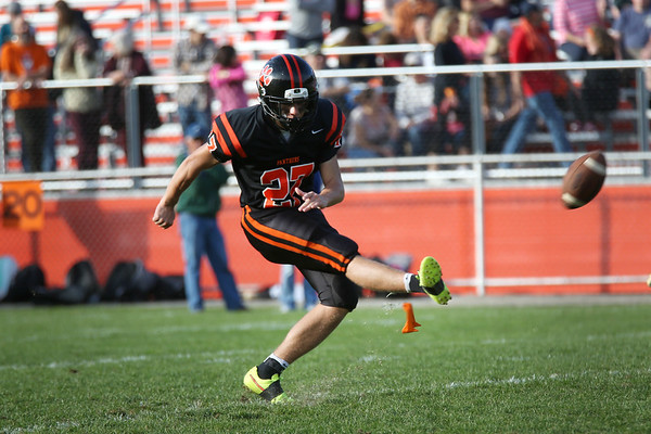 HADLEY GREEN/Staff photo<br /> Beverly kicks a field goal at the Beverly v. Danvers football game at the Hurd Stadium in Beverly. 10/14/17