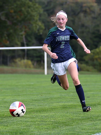 HADLEY GREEN/Staff photo<br /> Pingree's Lexi Gudaitis (2) runs towards the ball at the Pingree v. Phillips Exeter girls soccer game at the Pingree School. 10/11/17