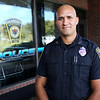 HADLEY GREEN/Staff photo<br /> Peabody police officer Javier Sanchez will be going to Puerto Rico with 68 other Massachusetts police officers to help with the hurricane relief efforts. Sanchez was born and raised in Puerto Rico and moved to the United States when he was 13 years old. He now lives in Salem. 10/05/17