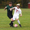 HADLEY GREEN/Staff photo<br /> Masconomet's Cole O'Toole (5) and Pentucket's Patrick Sullivan (8) fight for the ball at the Masconomet v. Pentucket boys varsity soccer game at Masconomet High School.<br /> <br /> 10/24/17