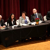 HADLEY GREEN/Staff photo<br /> From left, school committee candidates Laurence Aiello, Linda Quadros Lopez, Beverly Griffin Dunne, Andrew Arnotis, and Jarrod Hochman speak at the Peabody school committee debate held at Peabody City Hall. 10/17/17