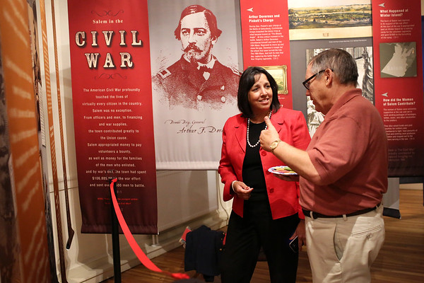 """HADLEY GREEN/Staff photo<br /> Salem Mayor Kim Driscoll attended a ceremony to unveil """"Salem, Slavery & Abolition,"""" a new display at the Salem Museum.<br /> <br />  10/18/17"""