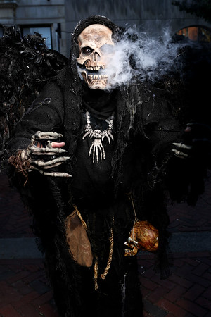 """HADLEY GREEN/Staff photo<br /> """"Nothing makes me feel better than a scare or a smile on someone's face, I love it,"""" says Craig Marciano of Woburn, better known as """"Mr. Bones of Salem."""" <br /> <br /> 10/31/17"""