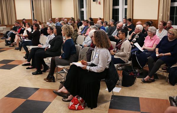 HADLEY GREEN/Staff photo<br /> People listen to the Salem School Committee debate held at Collins Middle School in Salem. 10/11/17