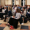 HADLEY GREEN/Staff photo<br /> People listen to the Salem School Committee debate held at Collins Middle School in Salem. 10/11/17