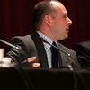 HADLEY GREEN/Staff photo<br /> Andrew Arnotis speaks at the Peabody school committee debate held at Peabody City Hall. 10/17/17