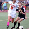 HADLEY GREEN/Staff photo<br /> Beverly's Anna Edson (6) moves the ball at the Beverly v. Bishop Fenwick varsity girls soccer game at the Hurd Stadium in Beverly. 10/07/17