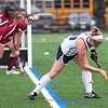HADLEY GREEN/Staff photo<br /> Swampscott's Sydney Faulkner (11) hits the ball at the Swampscott v. Peabody girls field hockey game at the Blocksidge Field in Swampscott.<br /> 10/26/17