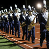 HADLEY GREEN/Staff photo<br /> The Peabody High School marching band files onto the field for halftime show at the Peabody v. Masconomet varsity football game. 10/06/17