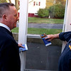 HADLEY GREEN/Staff photo<br /> Salem mayor candidate Paul Prevey speaks with Paul Pelletier while campaigning on Scenic Ave in Salem ahead of the election next week.<br /> <br /> 10/27/17