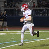 HADLEY GREEN/Staff photo<br /> Masconomet's Colby Jacques (2) runs down the field after intercepting the ball at the Peabody v. Masconomet varsity football game. 10/06/17