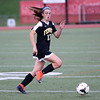 HADLEY GREEN/Staff photo<br /> Bishop Fenwick's Elani Gikas (17) runs towards the ball at the Beverly v. Bishop Fenwick varsity girls soccer game at the Hurd Stadium in Beverly. 10/07/17
