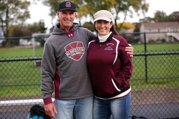 HADLEY GREEN/Staff photo<br /> Gloucester coaches Don and Lauren Riley pose at the Swampscott v. Peabody girls field hockey game at the Blocksidge Field in Swampscott.<br /> 10/26/17