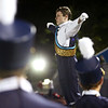 "HADLEY GREEN/Staff photo<br /> Peabody senior Tim Serino conducts the Peabody High School marching band in a rousing rendition of ""Crocodile Rock"" at the Peabody v. Masconomet varsity football game halftime show. 10/06/17"
