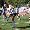 HADLEY GREEN/Staff photo<br /> Marblehead's Josie Friedman (6) hits the ball at the Marblehead v. Danvers girls field hockey game.<br /> 09/30/17