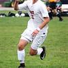 HADLEY GREEN/Staff photo<br /> Masconomet's Michael Budrewicz (11) runs with the ball at the Masconomet v. Pentucket boys varsity soccer game at Masconomet High School.<br /> <br /> 10/24/17