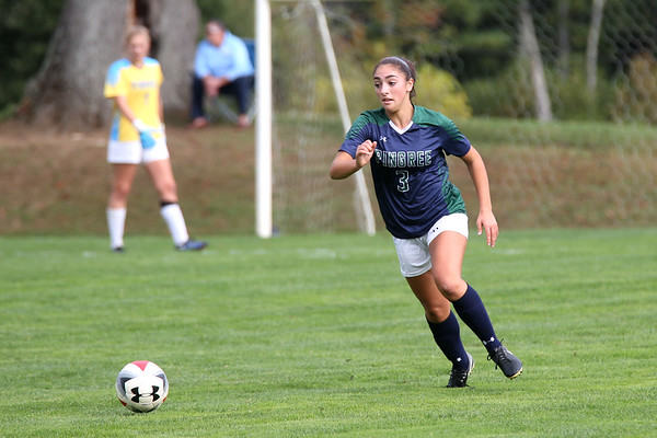 HADLEY GREEN/Staff photo<br /> Pingree's Alexis Nickole (3) runs towards the ball at the Pingree v. Phillips Exeter girls soccer game at the Pingree School. 10/11/17