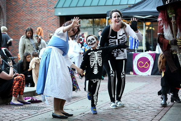 HADLEY GREEN/Staff photo<br /> Memphis Grimmett, 4, and his mom, Spyce Grimmett, dressed up in matching costumes for the annual Little Monsters Parade in downtown Salem. 10/18/17