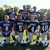 The 2014 Hamilton-Wenham Generals offense will be led by (from left) junior fullback Kai Khristich, senior captain and wide receiver Jimmy Baras, junior quarterback CJ Cooper, senior captain and tight end Nolan Wilson, junior quarterback Thomas Rostad, senior captain and wide receiver Jimmy Campbell, and junior running back Jimmy Littlefield. DAVID LE/Staff photo. 9/3/14.