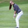 Beverly senior golfer Amy Modini lines up a putt. DAVID LE/Staff photo. 9/18/18.