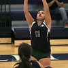 KEN YUSZKUS/Staff photo. Essex Tech's Sabrina Napoli keeps the ball flying during the Shawsheen at Essex Tech girls volleyball game. 9/22/14