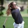 Beverly senior golfer Amy Modini tees off. DAVID LE/Staff photo. 9/18/18.