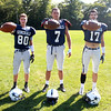 Hamilton-Wenham senior football captains Jimmy Baras (WR/DB), Nolan Wilson (TE/DE), and Jimmy Campbell (WR/DB) will lead the Generals in the fall of 2014. DAVID LE/Staff photo. 9/3/14.