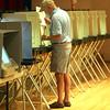 KEN YUSZKUS/Staff photo.  Skip Vass votes at Salem High School.   9/29/15.