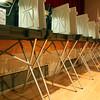 KEN YUSZKUS/Staff photo.  Laura Luckey casts her vote at Salem High School.   9/29/15.