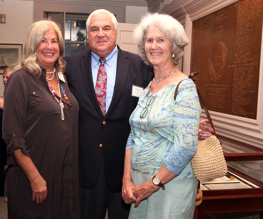 AMY SWEENEY/Staff photo.<br /> Marcia Glassman Jaffee, Mark Jaffee and Babette Loring at he opening of a new exhibit by the Beverly Historical Society at the John Cabot House in Beverly.