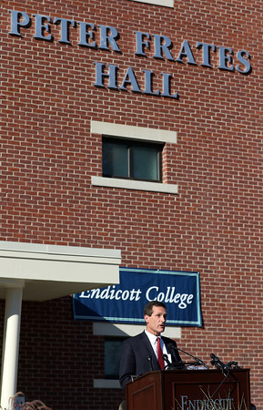 DAVID LE/Staff photo. Beverly Mayor Mike Cahill makes remarks during a dedication ceremony for Peter Frates Hall on the campus of Endicott College in Beverly. 9/13/16.