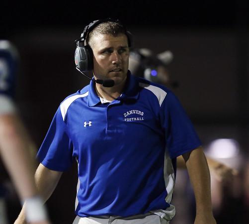 DAVID LE/Staff photo. Danvers third year head coach Shawn Theriault. 9/9/16.