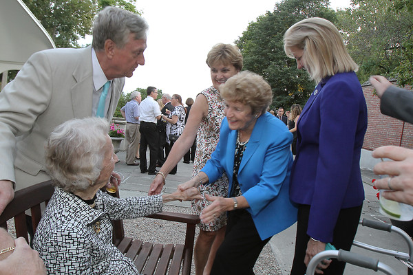 From left John Archer and Barbara Sears are greeted by Diane Stringer, Chris McCann, and state Sen. Joan Lovely during the SeniorCare Gala dinner Wednesday, September 21, at Misselwood. Photo by Nicole Goodhue Boyd