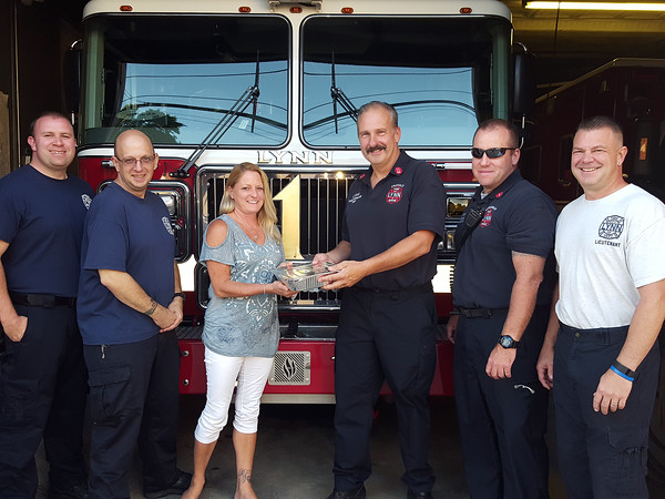 Courtesy photo. Food delivery by members of the Peabody Elks Lodge to Peabody firefighters on Thursday evening. 9/15/16.