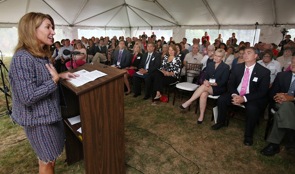 KEN YUSZKUS/Staff photo   Lt. Gov. Karyn Polito speaks at the Ribbon-cutting of The Academy at Penguin Hall in Wenham.    09/06/16