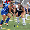KEN YUSZKUS/Staff photo  Danvers' Molly Thibodeau, left, moves the ball into position in front of the net and is blocked by Peabody's Gianna DeNisco during the Danvers at Peabody field hockey game.      09/06/16
