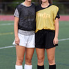 DAVID LE/Staff photo. Bishop Fenwick twin sisters Ally, left, and Emily Charette, are the leading goal scorers for the Crusaders in 2016. 9/27/16.