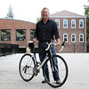 DAVID LE/Staff photo. Peabody native David Bethune, has been trying to spread the word about a Reason to Ride, a bike race and walk to benefit cancer care at Beth Israel Deaconess Hospital. Bethune was diagnosed with cancer a few years ago and after staving it off, has returned to biking and is now trying to raise awareness for people to get regular physicals, where his cancer was originally diagnosed. 9/1/16.