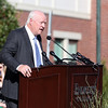 DAVID LE/Staff photo. Tom Alexander, Chairman of the Board of Trustees at Endicott College makes remarks during the dedication.9/13/16.