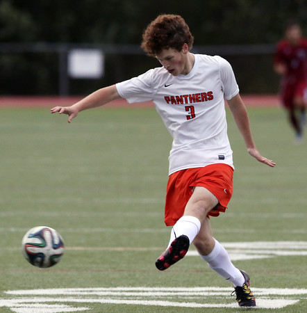DAVID LE/Staff photo. Beverly sophomore Bryce Visnick scored two goals for the Panthers against Gloucester on Wednesday. 9/28/16.