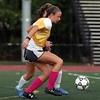DAVID LE/Staff photo. Bishop Fenwick's Sammi Gallant controls the ball during a drill at practice on Tuesday. 9/27/16.