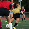 DAVID LE/Staff photo. Bishop Fenwick's Emily Charette takes a shot on goal at practice. 9/27/16.