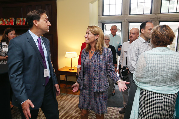 KEN YUSZKUS/Staff photo   Director of advancement & communication Dean Tsouvalas talks with Lt. Gov. Karyn Polito at the Ribbon-cutting of The Academy at Penguin Hall in Wenham.    09/06/16