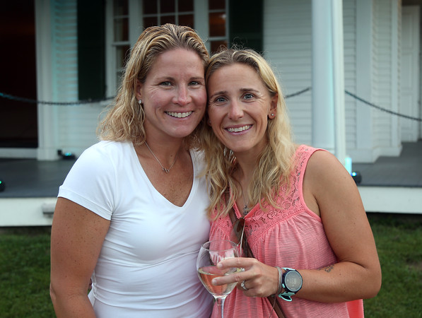 DAVID LE/Staff photo. Caren Napolitano and Ashley Steeves, of Danvers, at the Danvers Historical Society's September Swings event held at Glen Magna Farms on Friday evening. 9/9/16.