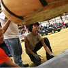 HADLEY GREEN/Staff photo<br /> A pumpkin is lowered down onto the scale at the Giant Pumpkin Weigh-Off at the Topsfield Fair.<br /> 09/29/17