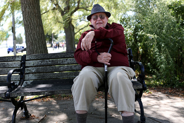 """HADLEY GREEN/Staff photo<br /> Irving Bacherman, 88, was born in Boston, and has lived on the North Shore for most of his life. He comes to the Willows a few times a week. """"I've known the Willows since I was a kid,"""" he says. <br /> <br /> 09/01/17"""