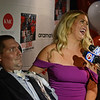 "RYAN HUTTON/ Staff photo<br /> Beverly native and ALS sufferer Pete Frates and his wife Julie speak with the media in the State Street Pavilion at Fenway Park on Monday night at an event to support the book about him ""The Ice Bucket Challenge"" - a chronicle of his struggles with ALS and how he helped start the famed ice bucket challenge to raise money for ALS research."