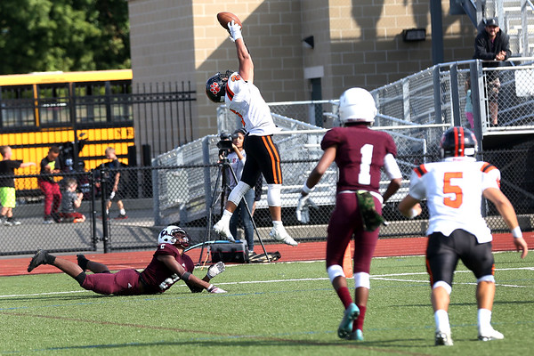 HADLEY GREEN/Staff photo<br /> Beverly's Ameer Alshrafi (2) catches the ball for a touchdown during the third quarter of the Lynn English v. Beverly football game at the Manning Field in Lynn.<br /> 09/09/17