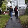 HADLEY GREEN/Staff photo<br /> Salem Mayor Kim Driscoll campaigns on Lafayette Place in Salem.<br /> 09/30/17
